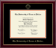 The University of Texas at Dallas Diploma Frame - Gold Embossed Diploma Frame in Gallery