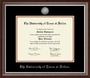 The University of Texas at Dallas Diploma Frame - Silver Engraved Medallion Diploma Frame in Devonshire