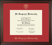 St. Gregory's University Diploma Frame - Gold Embossed Diploma Frame in Studio