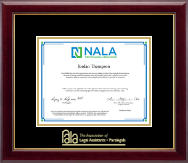 National Association of Legal Assistants & Paralegals Certificate Frame - Gold Embossed Certificate Frame in Gallery
