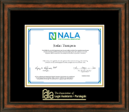 National Association of Legal Assistants & Paralegals Certificate Frame - Gold Embossed Certificate Frame in Ashford