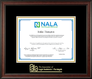 National Association of Legal Assistants & Paralegals Certificate Frame - Gold Embossed Certificate Frame in Studio