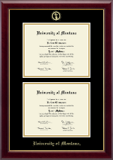 University of Montana Missoula Diploma Frame - Double Document Diploma Frame in Gallery