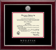 Wesleyan University Diploma Frame - Silver Engraved Medallion Diploma Frame in Gallery Silver