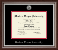 Western Oregon University Diploma Frame - Silver Engraved Medallion Diploma Frame in Devonshire