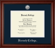 Baruch College Diploma Frame - Silver Engraved Medallion Diploma Frame in Cambridge