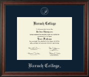 Baruch College Diploma Frame - Silver Embossed Diploma Frame in Studio