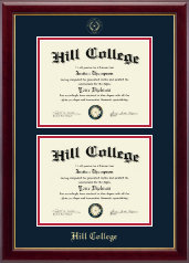Hill College Diploma Frame - Double Document Diploma Frame in Gallery