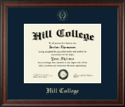 Hill College Diploma Frame - Gold Embossed Diploma Frame in Studio
