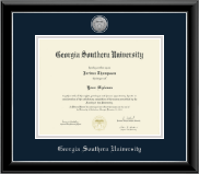 Georgia Southern University Diploma Frame - Silver Engraved Medallion Diploma Frame in Onyx Silver