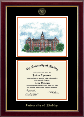The University of Findlay Diploma Frame - Campus Scene Edition Diploma Frame in Gallery