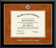 The University of Findlay Diploma Frame - Brass Masterpiece Medallion Diploma Frame in Onyx Gold