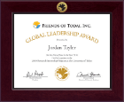 Friends of Todai, Inc. Certificate Frame - Century Gold Engraved Certificate Frame in Cordova