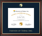 Friends of Todai, Inc. Certificate Frame - Gold Embossed Certificate Frame in Studio Gold