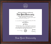 New York University Diploma Frame - Silver Embossed Diploma Frame in Studio