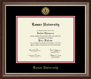 Lamar University Diploma Frame - Gold Engraved Medallion Diploma Frame in Hampshire