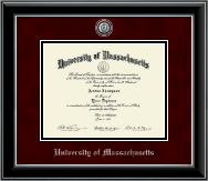 University of Massachusetts Amherst Diploma Frame - Pewter Masterpiece Medallion Diploma Frame in Onyx Silver