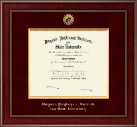 Virginia Polytechnic Institute and State University Diploma Frame - Presidential Gold Engraved Diploma Frame in Jefferson