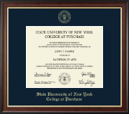 Purchase College Diploma Frame - Gold Embossed Diploma Frame in Studio Gold
