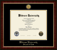 Widener University School of Law Diploma Frame - Gold Engraved Medallion Diploma Frame in Murano