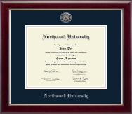 Northwood University in Michigan Diploma Frame - Silver Engraved Medallion Diploma Frame in Gallery Silver