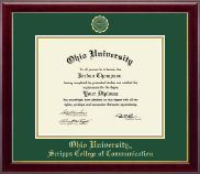 Ohio University Athens Diploma Frame - Gold Embossed Diploma Frame in Gallery