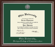 Ohio University Athens Diploma Frame - Silver Engraved Medallion Diploma Frame in Devonshire