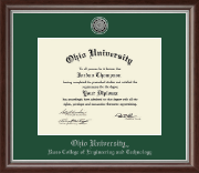 Ohio University Diploma Frame - Silver Engraved Medallion Diploma Frame in Devonshire