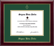 Sigma Beta Delta Certificate Frame - Gold Embossed Certificate Frame in Gallery