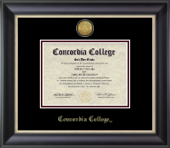 Concordia College Moorhead Diploma Frame - Gold Engraved Medallion Diploma Frame in Noir