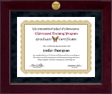 The International School of Clairvoyance Certificate Frame - Millennium Gold Engraved Certificate Frame in Cordova