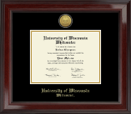 University of Wisconsin Whitewater Diploma Frame - Gold Engraved Medallion Diploma Frame in Encore