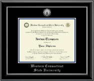 Western Connecticut State University Diploma Frame - Silver Engraved Medallion Diploma Frame in Onyx Silver