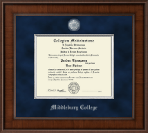 Middlebury College Diploma Frame - Presidential Pewter Masterpiece Diploma Frame in Madison