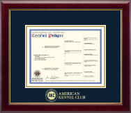 American Kennel Club Certificate Frame - Gold Embossed Pedigree Frame in Gallery