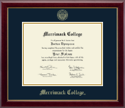 Merrimack College Diploma Frame - Gold Embossed Diploma Frame in Gallery