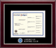 American Kennel Club Certificate Frame - Masterpiece Medallion Pedigree Frame in Gallery Silver