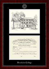 Bowdoin College Diploma Frame - Campus Scene Edition Diploma Frame in Sutton