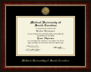 Medical University of South Carolina Diploma Frame - Gold Engraved Medallion Diploma Frame in Murano