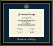 Merrimack College Diploma Frame - Gold Embossed Diploma Frame in Onyx Gold