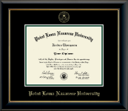 Point Loma Nazarene University Diploma Frame - Gold Embossed Diploma Frame in Onyx Gold