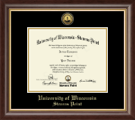 University of Wisconsin Stevens Point Diploma Frame - Gold Engraved Medallion Diploma Frame in Hampshire