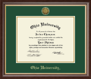 Ohio University Athens Diploma Frame - Gold Engraved Medallion Diploma Frame in Hampshire