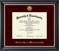 University of Massachusetts Amherst Diploma Frame - Gold Engraved Medallion Diploma Frame in Noir