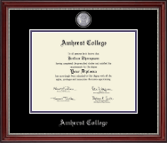 Amherst College Diploma Frame - Masterpiece Medallion Diploma Frame in Kensington Silver