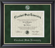 Cleveland State University Diploma Frame - Pewter Masterpiece Medallion Diploma Frame in Noir
