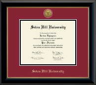 Seton Hill University Diploma Frame - Gold Engraved Medallion Diploma Frame in Onyx Gold