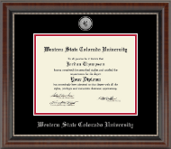 Western State Colorado University Diploma Frame - Silver Engraved Medallion Diploma Frame in Chateau