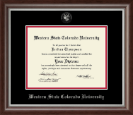 Western State Colorado University Diploma Frame - Silver Embossed Diploma Frame in Devonshire