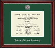 Eastern Michigan University Diploma Frame - Silver Engraved Medallion Diploma Frame in Kensington Silver